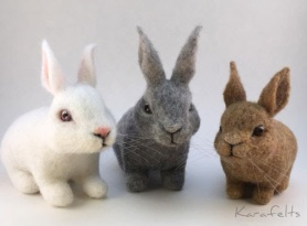 Felted Bunnies by Kara Kirchner featured on www.livingfelt.com/blog