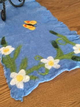 Felted Spring Table Runner by Judi Francis featured on www.livingfelt.com/blog