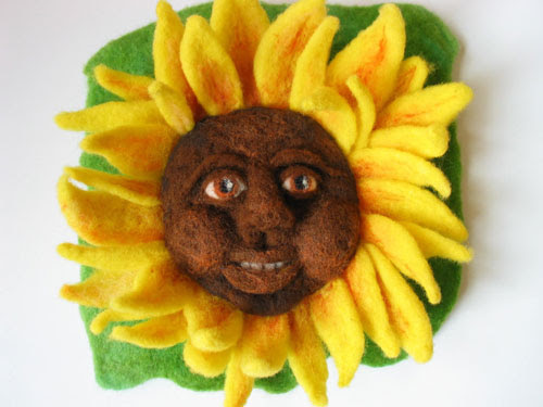 Felted Sunflower Fairy by Carol Krajnick featured on www.livingfelt.com/blog