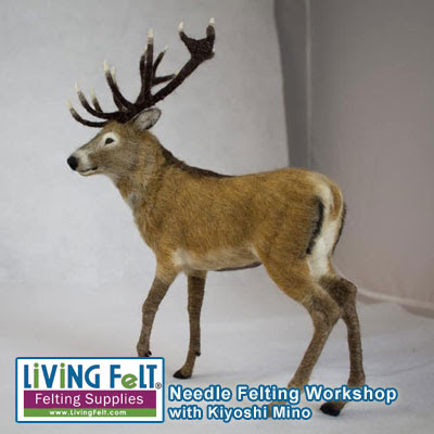 Needle Felted Realistic Deer Workshop with Kiyoshi Mino featured on www.livingfelt.com/blog