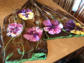 Nuno Felted Flowers Scarf by Irene Clark featured on www.livingfelt.com/blog