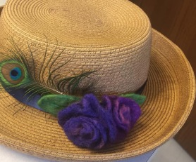 Wet Felted Flowers on a Hat by Ruth Dykstra featured on www.livingfelt.com/blog