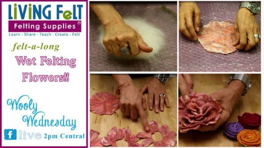 Wet Felted Flowers Tutorial for Wooly Wednesday featured on www.livingfelt.com/blog