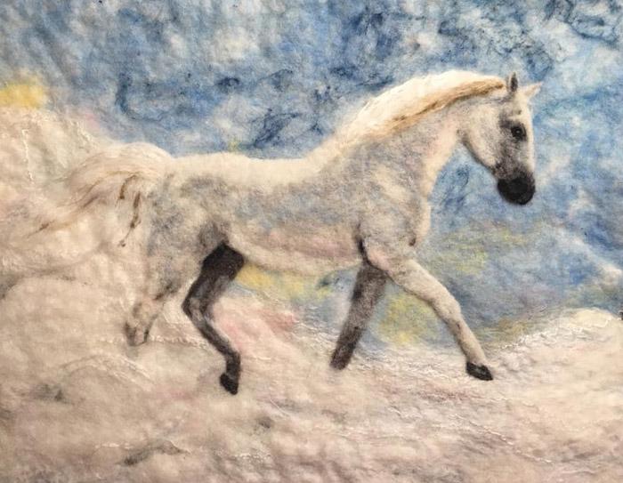 Felted Horse Painting by Heather Yerkey featured on www.livingfelt.com/blog.