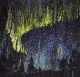 Felted Northern Lights Painting by Kate Frego featured on www.livingfelt.com/blog