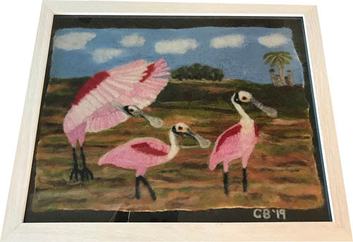 Felted 2-D Spoonbill Picture by Carol Brunetti featured on www.livingfelt.com/blog